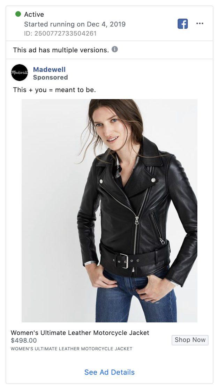 madewell facebook retargeting ad example