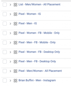 The old way of manually segmenting Facebook audiences.